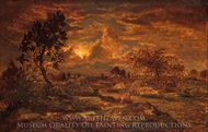 Sunset near Arbonne painting reproduction, Theodore Rousseau