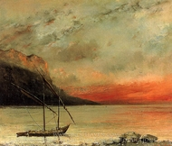 Sunset on Lake Leman painting reproduction, Gustave Courbet
