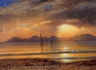 Sunset over a Mountain Lake painting reproduction, Albert Bierstadt