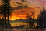 Sunset over the River painting reproduction, Albert Bierstadt