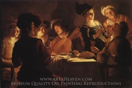 Supper with the Minstrel and his Lute painting reproduction, Gerrit Van Honthorst