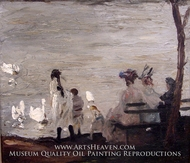 Swans in Central Park painting reproduction, George Bellows