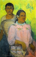 Tahitian Woman and Boy painting reproduction, Paul Gauguin