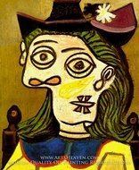 Tete de Femme au Chapeau Mauve painting reproduction, Pablo Picasso (inspired by)