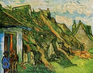 Thatched Sandstone Cottages in Chaponval painting reproduction, Vincent Van Gogh