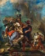 The Abduction of Rebecca painting reproduction, Eugene Delacroix