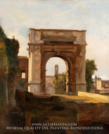 The Arch of Titus and the Forum, Rome painting reproduction, French Painter