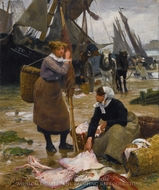 The Arrival of the Fishing Boats painting reproduction, Victor Gabriel Gilbert