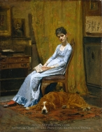 The Artist's Wife and His Setter Dog painting reproduction, Thomas Eakins