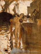 The Balcony, Spain and Two Nude Bathers Standing on a Wharf painting reproduction, John Singer Sargent