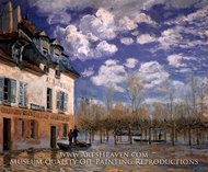 The Bark During the Flood, Port Marly by Alfred Sisley