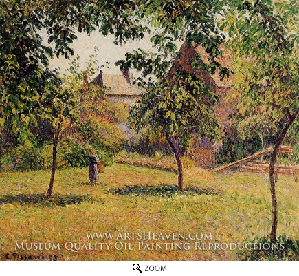 Painting Reproduction of The Barn, Morning, Eragny, Camille Pissarro