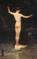 The Bathers painting reproduction, William Morris Hunt
