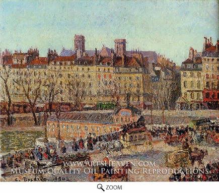 Painting Reproduction of The Baths of Samaritaine, Afternoon, Camille Pissarro