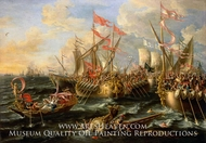 The Battle of Actium, 2 September 31 BC painting reproduction, Lorenzo Castro