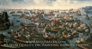 The Battle of Lepanto, 7 October 1571 painting reproduction, H. Letter