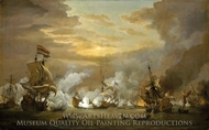 The Battle of the Texel, 11-21 August 1673 painting reproduction, Willem Van De Velde, The Younger