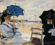 The Beach at Trouville painting reproduction, Claude Monet