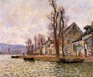 The Bend of the Seine at Lavacourt Winter painting reproduction, Claude Monet