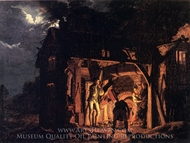 The Blacksmith's Shop painting reproduction, Joseph Wright