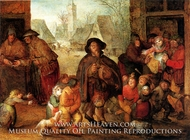 The Blind Hurdy Gurdy Player painting reproduction, David Vinckboons