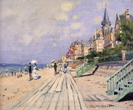 The Boardwalk at Trouville painting reproduction, Claude Monet
