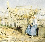 The Boat Builder's Yard, Cancale, Brittany painting reproduction, Henry Herbert La Thangue