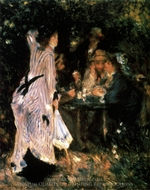 The Bower-In the Garden (Under the Trees at the Moulin de la Galette) painting reproduction, Pierre-Auguste Renoir