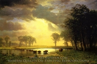 The Buffalo Trail painting reproduction, Albert Bierstadt