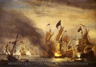 The Burning of HMS Royal James at the Battle of Solebay, 28 May 1672 painting reproduction, Willem Van De Velde, The Younger
