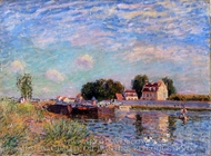 The Canal at Saint-Mammes painting reproduction, Alfred Sisley