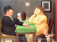 The Card Player painting reproduction, Fernando Botero