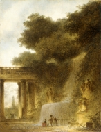 The Cascade painting reproduction, Jean-Honore Fragonard