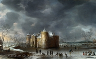 The Castle of Muiden in Winter painting reproduction, Jan Beerstraaten