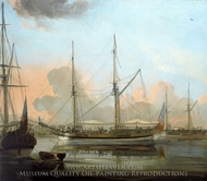The Charlotte of Chittagong and Other Vessels at Anchor in the River Hoogli painting reproduction, Franz Balthazar Solvyns