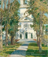 The Church at Gloucester painting reproduction, Childe Hassam