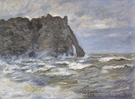 The Cliff at the Porte d'Aval painting reproduction, Claude Monet