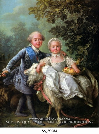 Painting Reproduction of The Comte d'Artois and his Sister, Madame Clotilde, Francois-Hubert Drouais