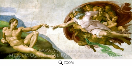 Painting Reproduction of The Creation of Man, Michelangelo
