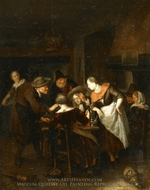 The Dice Players painting reproduction, Richard Brakenburg