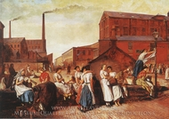 The Dinner Hour, Wigan painting reproduction, Eyre Crowe