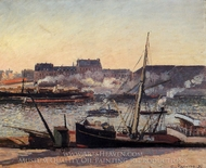 The Docks, Rouen: Afternoon painting reproduction, Camille Pissarro