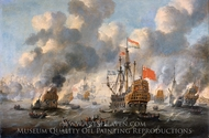 The Dutch Burn Down the English Fleet Before Chatham painting reproduction, Peter Van De Velde