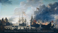 The Dutch Burn English Ships During the Expedition to Chatham Raid on Medway painting reproduction, Jan Van Leyden