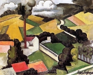 The Factory Chimney, Meulan Landscape painting reproduction, Roger De La Fresnaye