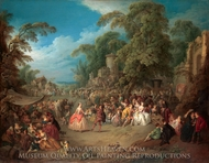 The Fair at Bezons painting reproduction, Jean-Baptiste Joseph Pater