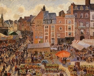 The Fair, Dieppe: Sunny Afternoon painting reproduction, Camille Pissarro