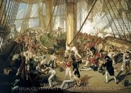 The Fall of Nelson, Battle of Trafalgar, 21 October 1805 painting reproduction, Denis Dighton