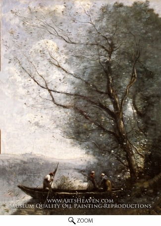 Painting Reproduction of The Ferryman, Jean-Baptiste Camille Corot