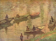 The Fishermen on the Seine near Poissy painting reproduction, Claude Monet